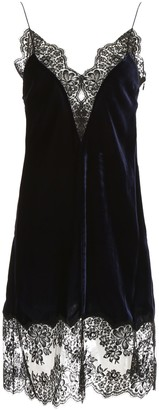 Stella McCartney Velvet Slip Dress With Lace