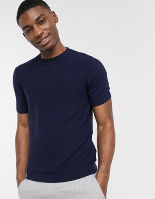 Topman knitted t-shirt in navy