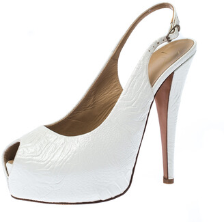 Giuseppe Zanotti White Embossed Leather Peep Toe Slingback Platform Sandals Size 40