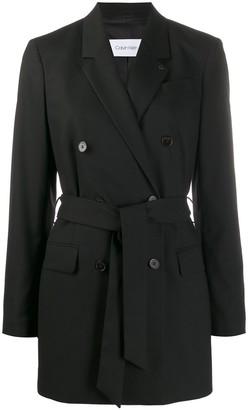 Calvin Klein Belted longline blazer