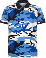 Sandro Camouflage Print Polo Shirt, Blue, L