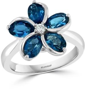 Effy London Blue Topaz (2-7/8 ct. t.w.) & Diamond (1/20 ct. t.w.) Flower Ring in 14k White Gold