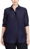 Ralph Lauren Woman Cotton-Silk Button-Down Shirt