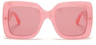 Gucci Oversized Square Pearlescent-acetate Sunglasses - Womens - Pink Multi