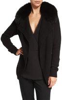 Theory Shurelia Loryelle Cardigan W/ Fur Collar