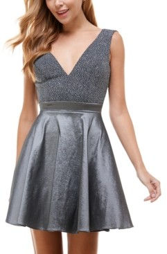 City Studios Juniors' Glitter-Top V-Back Dress