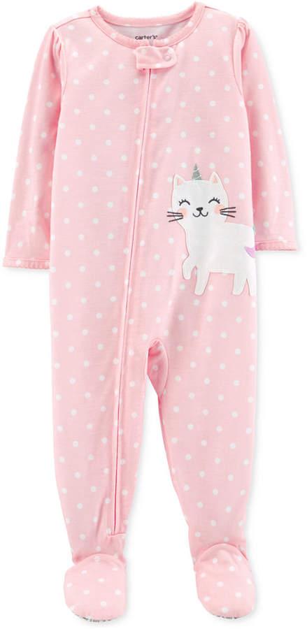 Carter's Carter Baby Girls Unicorn Cat Cotton Footed Pajamas