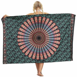 Nuofengkudu Ladies Sarong Skirt Hippie Floral Printed Swimsuit Coverups Wrap Holiday Wedding Party Beach Outfits(Green B One Size)
