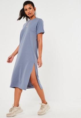 Missguided Blue Basic T Shirt Midi Dress