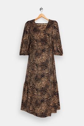 Topshop Womens **Maternity Animal Print Kimono Wrap Midi Dress - Natural