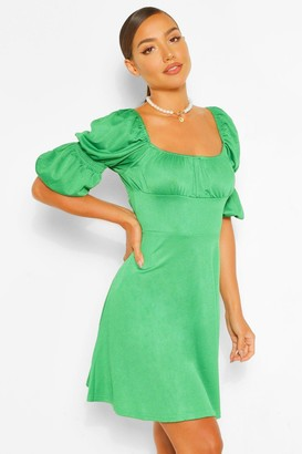boohoo Puff Sleeve Rouched Bust Skater Dress