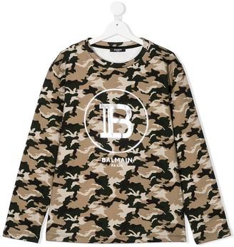 Balmain Kids TEEN camouflage-print logo sweatshirt