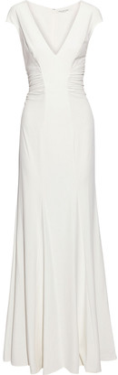 Halston Cutout Ruched Stretch-crepe Gown