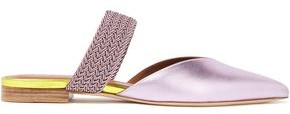 Malone Souliers Maisie Braided Cord And Metallic Leather Mules