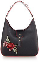 Tu clothing Black Retro Rose Embroidered Hobo Bag