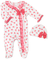 Baby Essentials Coral & White Footie & Beanie Set - Infant