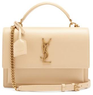 Saint Laurent Sunset Leather Shoulder Bag - Ivory
