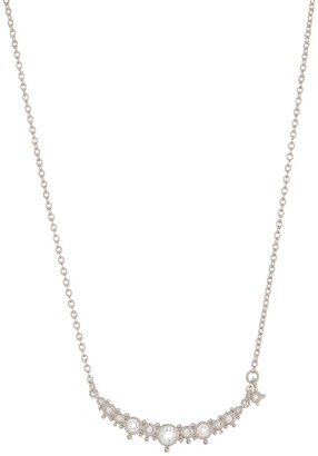 Judith Ripka Little Luxuries Silver White Topaz Curved Bar Pendant Necklace