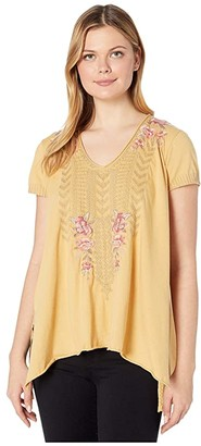 Johnny Was Rianne Knit Drape Top (Marigold) Women's Clothing