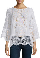 Johnny Was Dange Embroidered-Eyelet Tunic