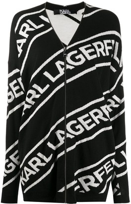 Karl Lagerfeld Paris Logo Zip Cardigan
