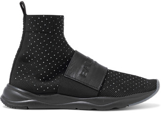 Balmain Cameron Leather-trimmed Crystal-embellished Stretch-knit High-top Sneakers