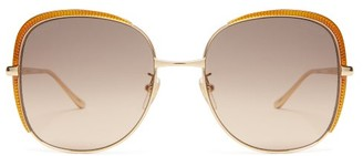 Gucci Oversized Square Metal Sunglasses - Womens - Gold Multi