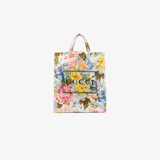 Gucci multicoloured floral print logo tote bag