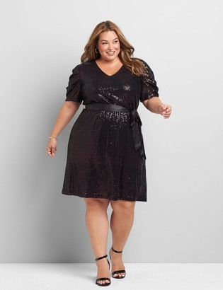 Lane Bryant Elbow-Sleeve Sequin Fit & Flare Dress