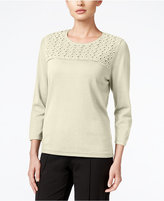 Alfred Dunner Sequined Lace-Yoke Sweater