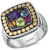 Effy 18K Yellow Gold, 925 Sterling Silver & Multi-Stone Ring