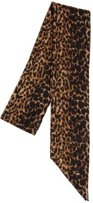 Saint Laurent Leopard Printed Wool Mini Scarf
