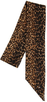 Saint Laurent LEOPARD PRINTED WOOL MINI SCARF