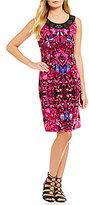 Allison Daley Petite Sleeveless Dress with Embellished Band Neckline