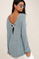Fate Pursuit of Happiness Heather Blue Backless Sweater