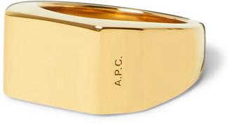 A.P.C. Logo-Engraved Silver-Tone Signet Ring