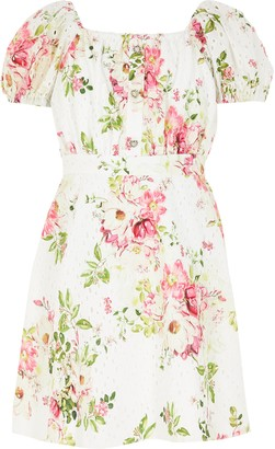 River Island Girls White floral broderie puff sleeve dress
