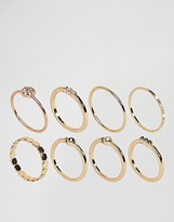 Asos Pack of 8 Mixed Stone and Metal Detail Rings