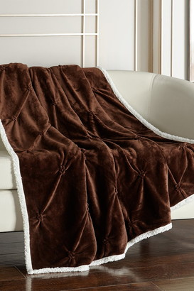"Chic Home Bedding Caracas Pinch Pleated Faux Shearling Lined Throw Blanket - 50"" x 60"" - Brown"