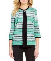 Misook Jewel Neck 3/4 Sleeve Stripe Jacket