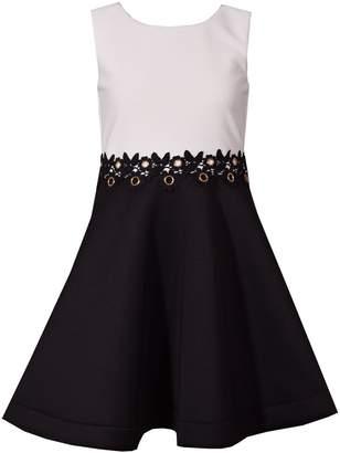 Bonnie Jean Girl's 7-16 Ottoman Waistline Fancy Venise Trim Dress