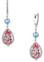 Effy 14kt. White Gold Aquamarine, Morganite and Diamond Earrings