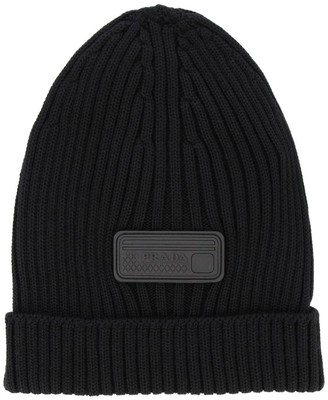 Prada Hat In Ribbed Wool With Rubber Logo