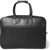 Bottega Veneta Intrecciato Leather And Canvas Duffle Bag With Wheels - Black