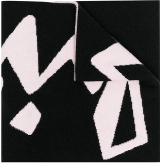 Off-White Graphic-Print Knitted Scarf