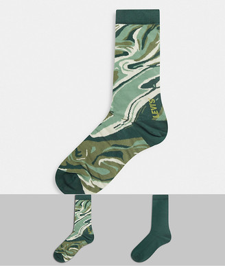 Levi's Levis mens 2 pack camo socks in green
