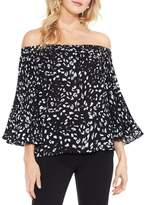Vince Camuto Cheetah-print Off-the-shoulder Pleat-sleeve Top