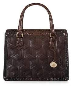 Brahmin Small Cocoa Hughes Camille Leather Satchel