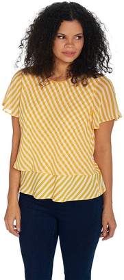 Vince Camuto Flutter Sleeve Simple Stripe Layered Blouse