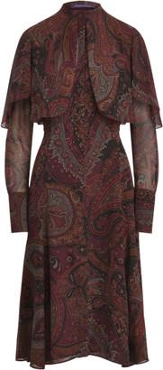 Ralph Lauren Cailyn Paisley Silk Georgette Cape Dress